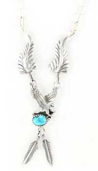 Navajo Crafted Sterling Silver Turquoise Eagle Feather Necklace -NW1073T -TJ