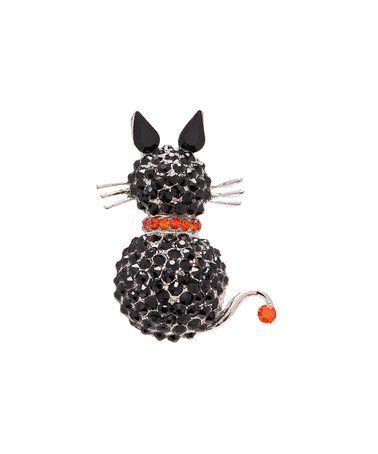 Look at this #zulilyfind! Black Rhinestone & Silvertone Cat Brooch #zulilyfinds