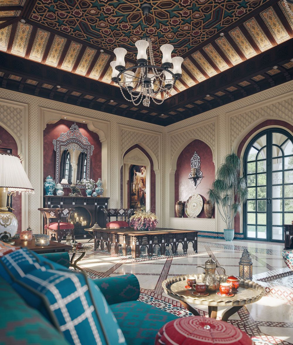 """Dreamy Spaces Rendered By Muhammad Taher: """" The Majlis """" By Taher Studio"""