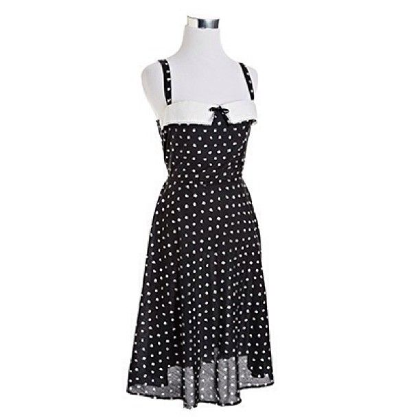 80s Sweetheart Strappy Dot Dress | NiftyThrifty - Rare Finds Everyday- $65
