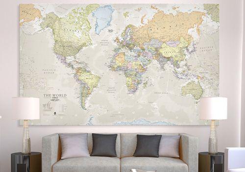Huge classic world map canvas wm1242 maps international
