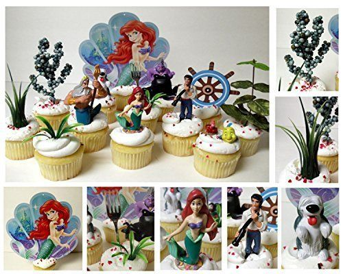 Little Mermaid 14 Piece Birthday CUPCAKE Topper Set Featuring Ariel, Prince Eric, Sebastian, Ursula, Flounder, Max, and King Triton and Other Decorative Themed Accessories by Little Mermaid LITTLE MERMAID http://www.amazon.ca/dp/B00YBBP6NA/ref=cm_sw_r_pi_dp_I5TTvb0F3YF7X