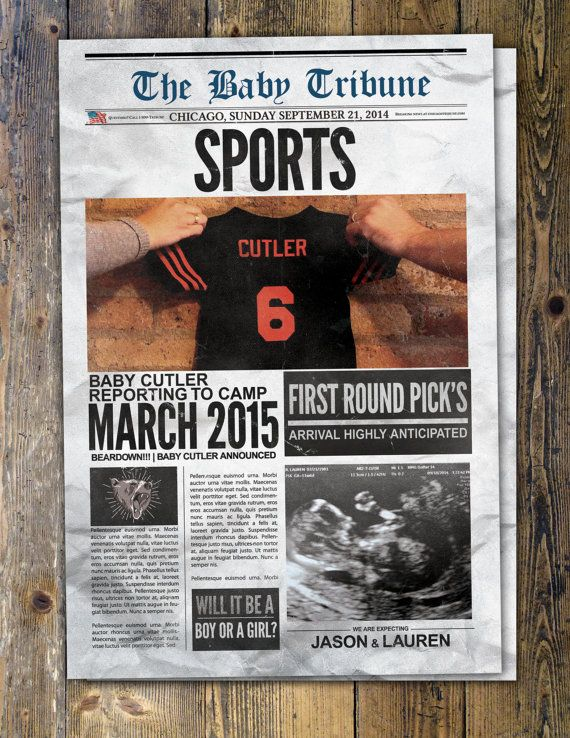 NEWSPAPER pregnancy announcement birth announcement by LyonsPrints – Football Birth Announcements