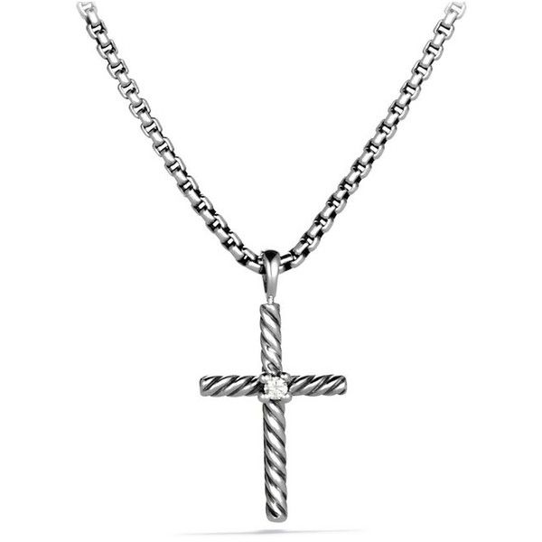 David Yurman Cable Classics Cross With Diamond On Chain ($325) ❤ liked on Polyvore featuring jewelry, necklaces, silver, david yurman, cable chain necklace, diamond crucifix necklace, box chain necklace and cable necklace