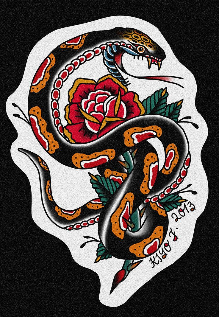 Snake tradicional tattoo traditional ol 39 school for Traditional old school tattoo designs