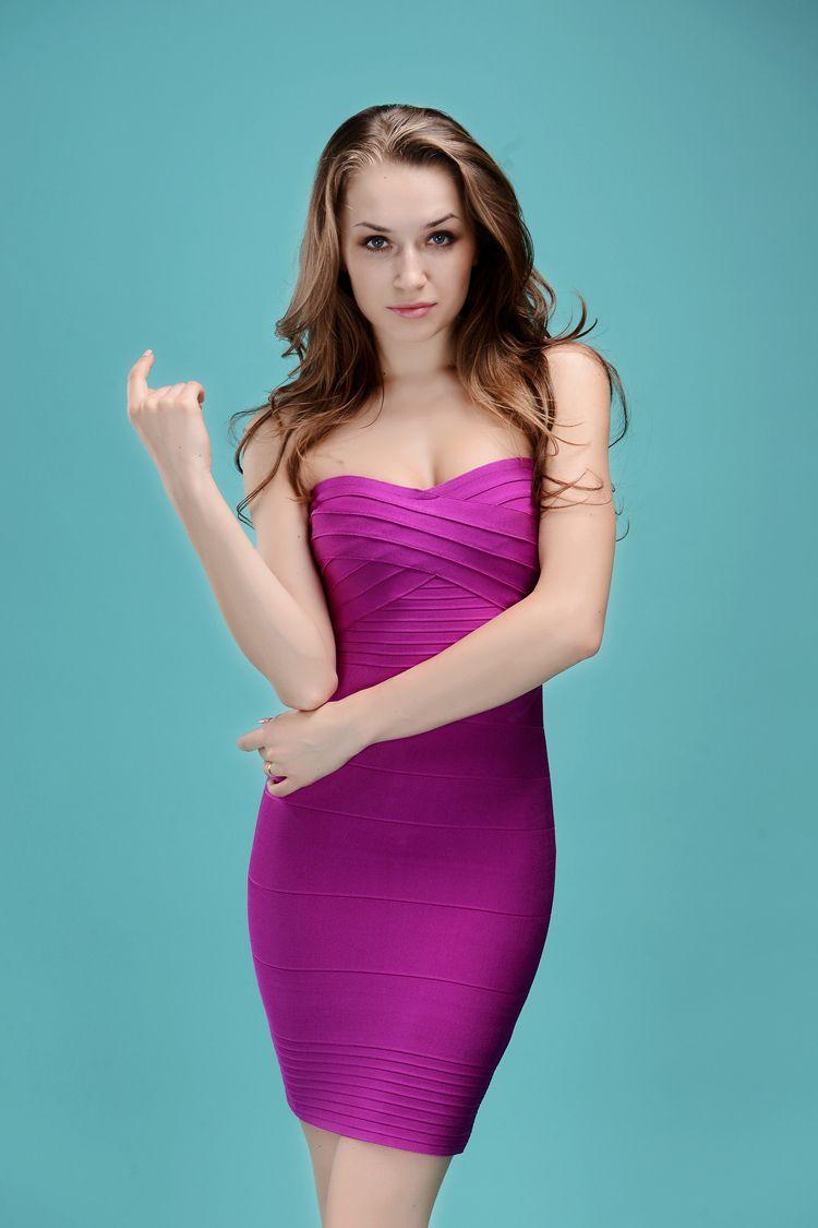Starry Strapless Bandage Dress purple#dress #sexy #women #party ...