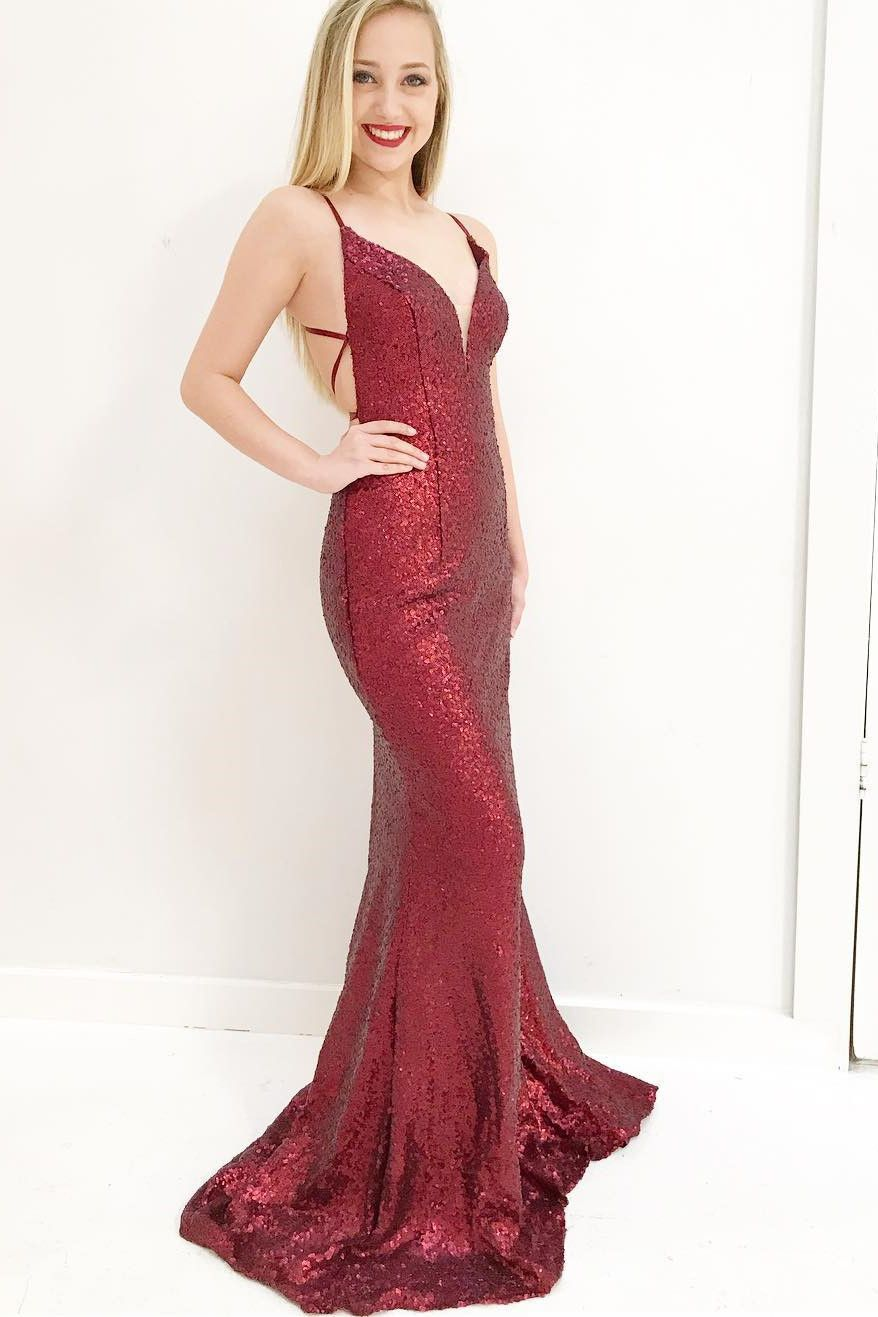 Gorgeous mermaid wine red sequins long prom dress with criss cross
