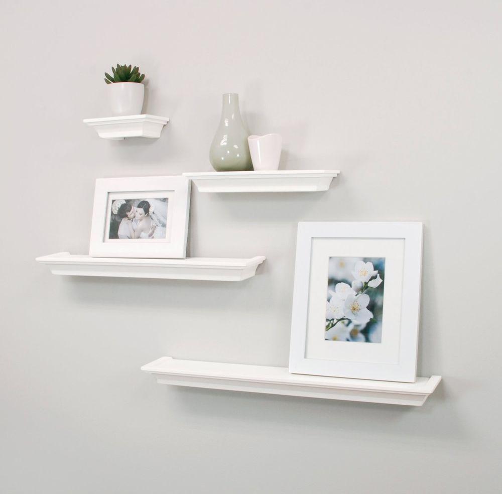 Floating Wall Shelves 4 Pc Set Mounted Ledge Home Decor Storage