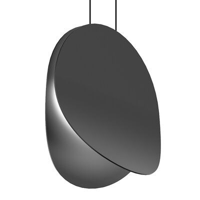Sonneman Flared opposing discs form a sweeping sculptural LED pendant in four diameters. Intended to be hung individually or clustered in an arrangement of multiple sizes. Finish: Satin Black, Size: 7.5