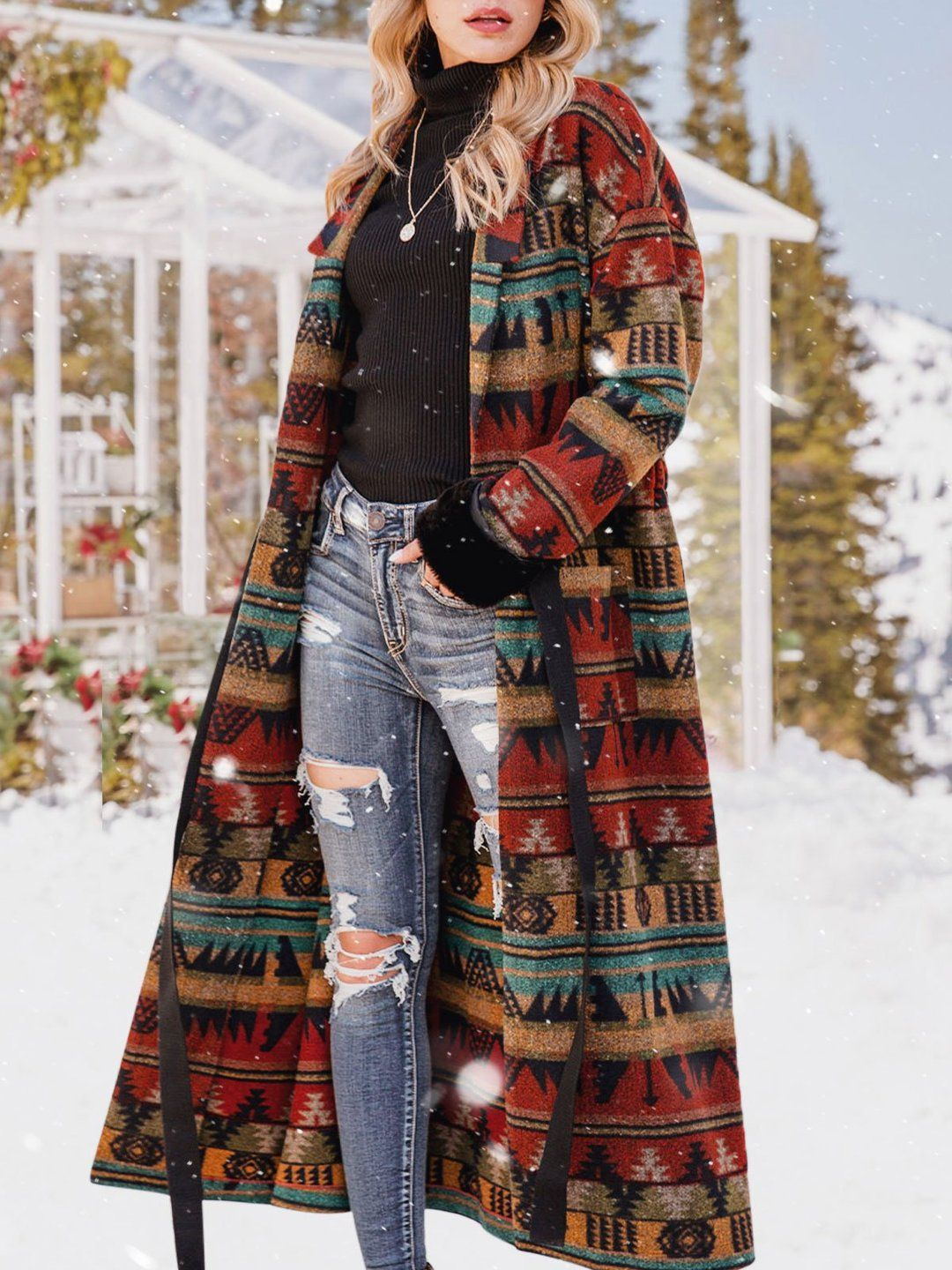 Women Tribal Boho Shawl Collar Outerwear Coat With Belt Tops Wotoba Long Sleeve 1 Red Women Tops Lapel Polyester Holiday Pockets Daily Tops Long Sleeve Outerwear Casual Outerwear Outerwear [ 1440 x 1080 Pixel ]