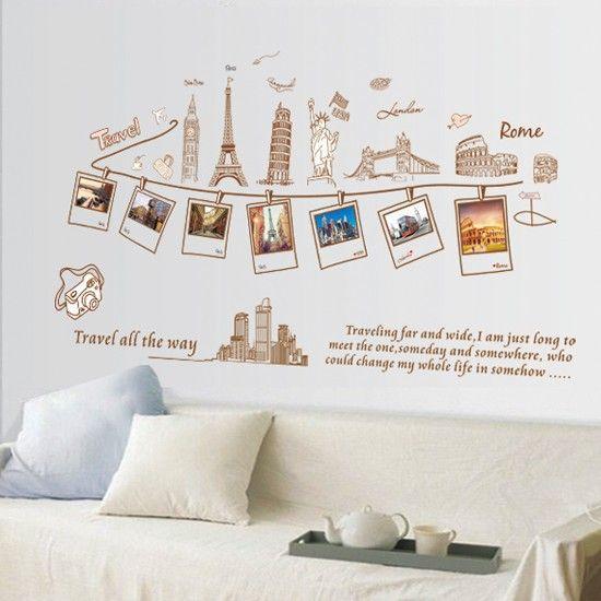 1 Set Fashion Diy Removable Photo Wall Sticker Travel Memory Home Decor Decoration Art Mural Wallpap Travel Room Decor Wall Stickers Travel Travel Wall Decor