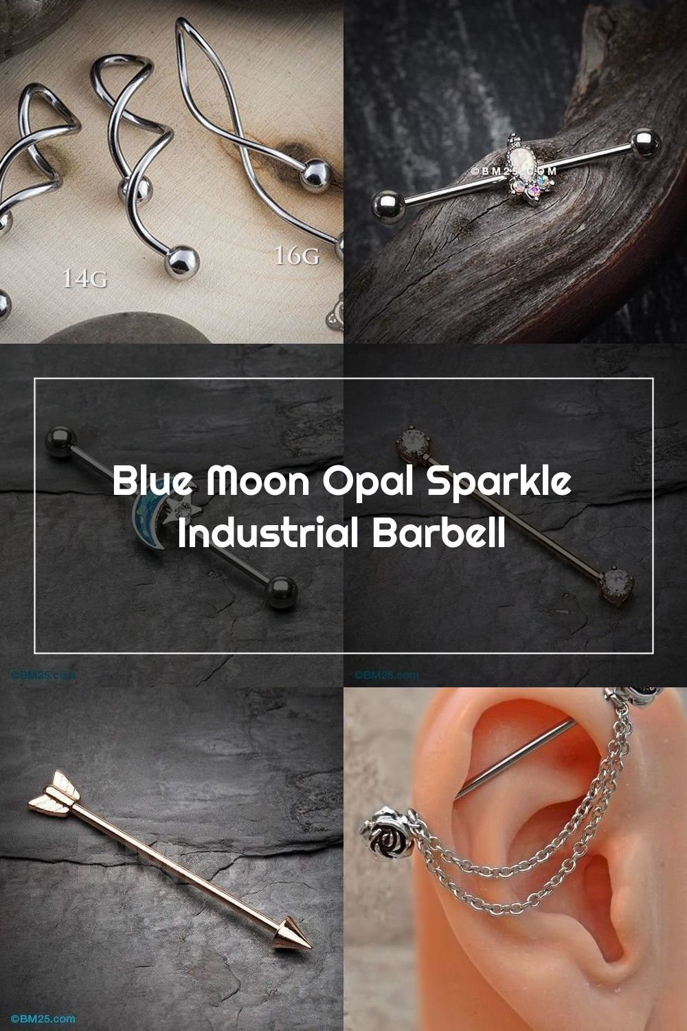 14G Surgical Steel Industrial Tongue Ring Nipple Cartilage Helix Tragus Barbell