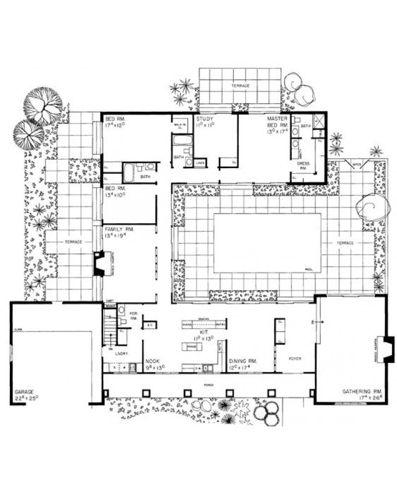 Hp2343 Interior Courtyard House Plans Modern Floor Plans Beautiful House Plans