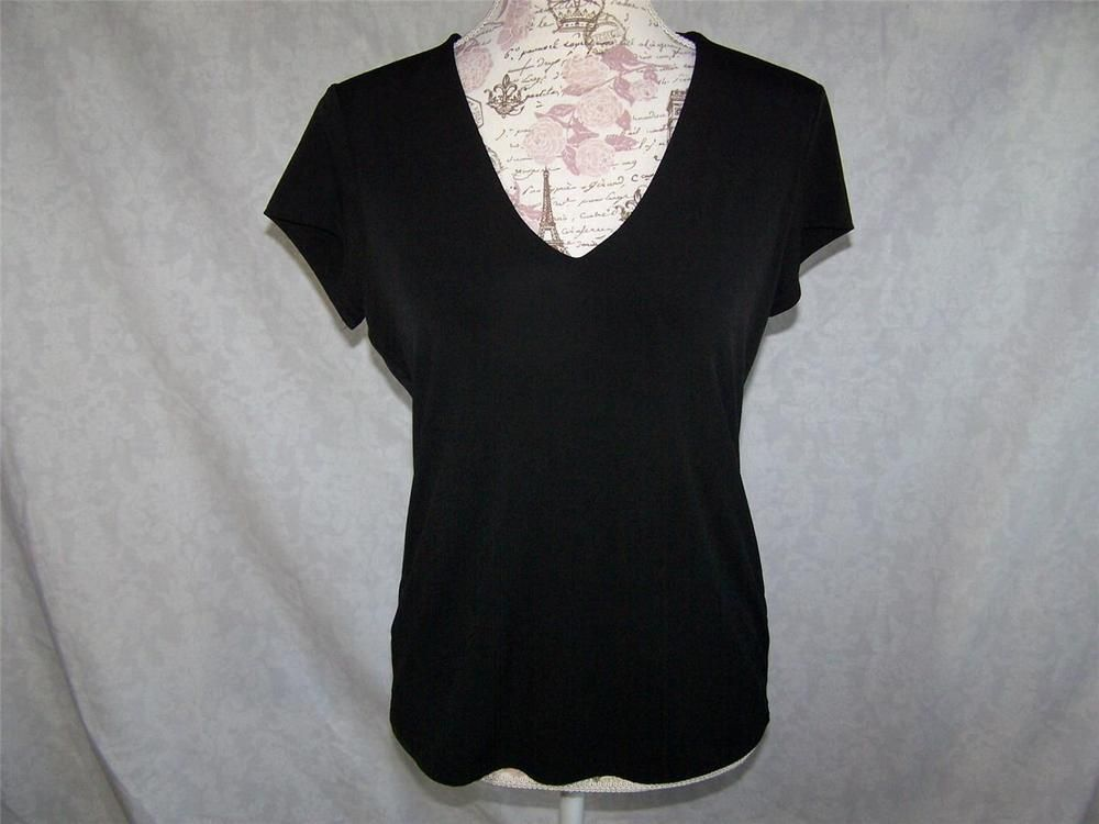 598449a5919 GRACE Shirt Top L Short Sleeves V-Neck Lined Black Stretch Womens ...