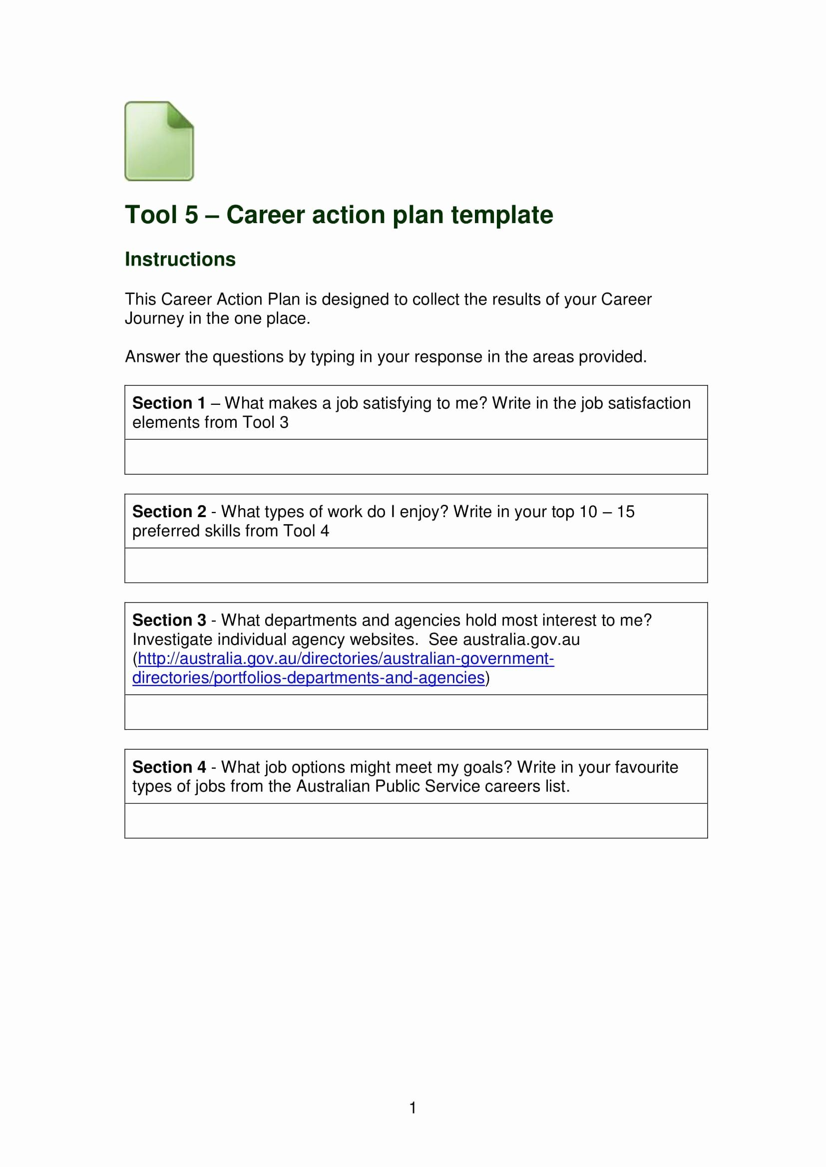 30 Career Action Plan Template In