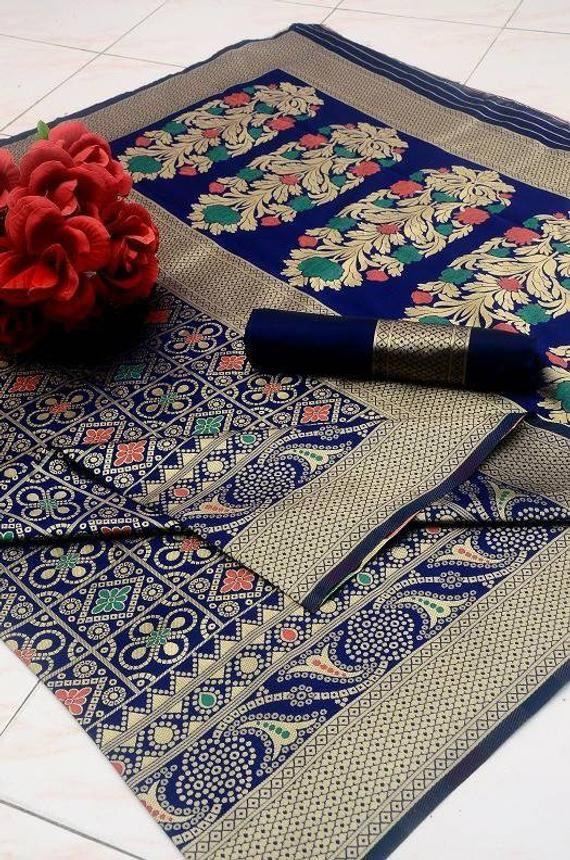 Photo of Soft banarasi silk saree, meenakari silk saree, wedding saree, saree blouse, bridal saree, ladies saree, designers saree, blue saree