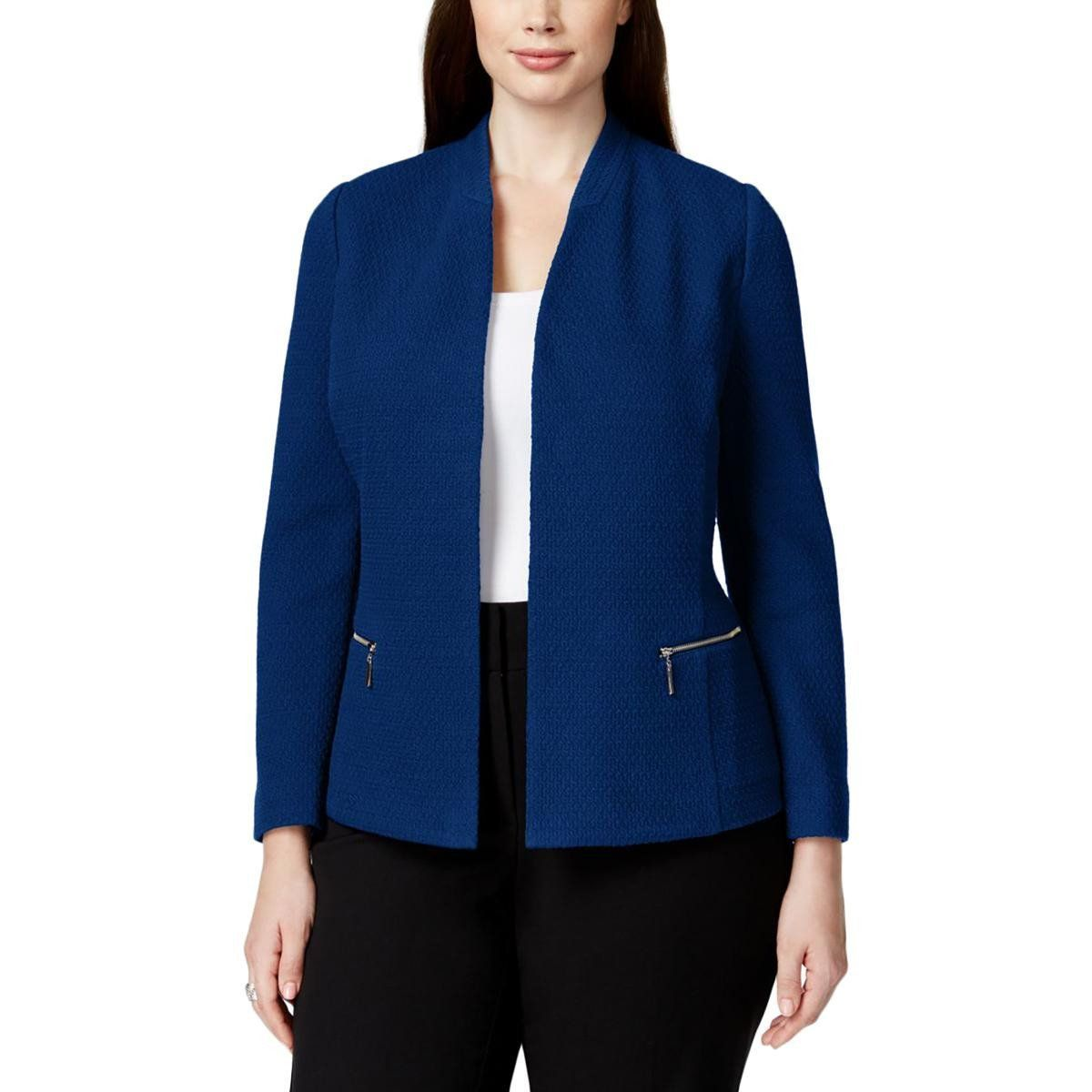 f489a7b50a1 Alfani Womens Plus Textured Open Front Casual Blazer