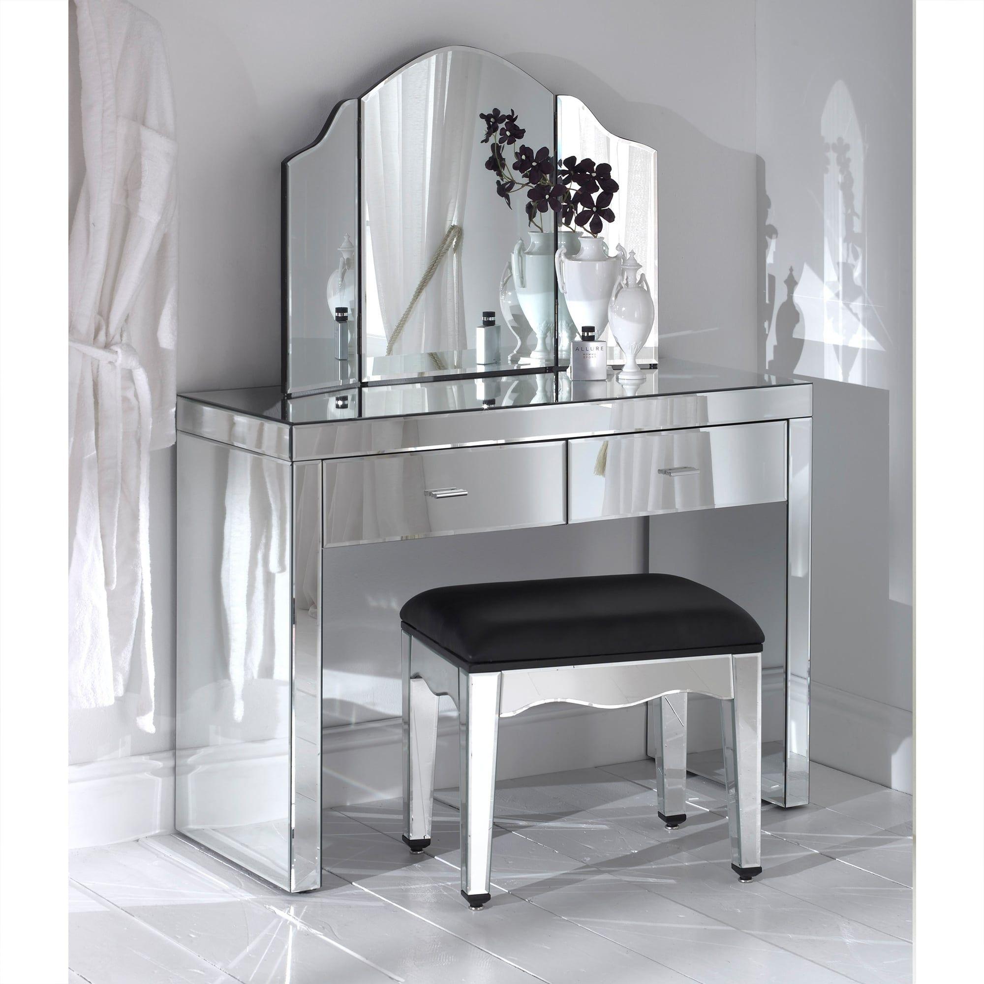 Romano Mirrored Dressing Table Set Romano Mirrored Collection  # Meuble Tv Dressing