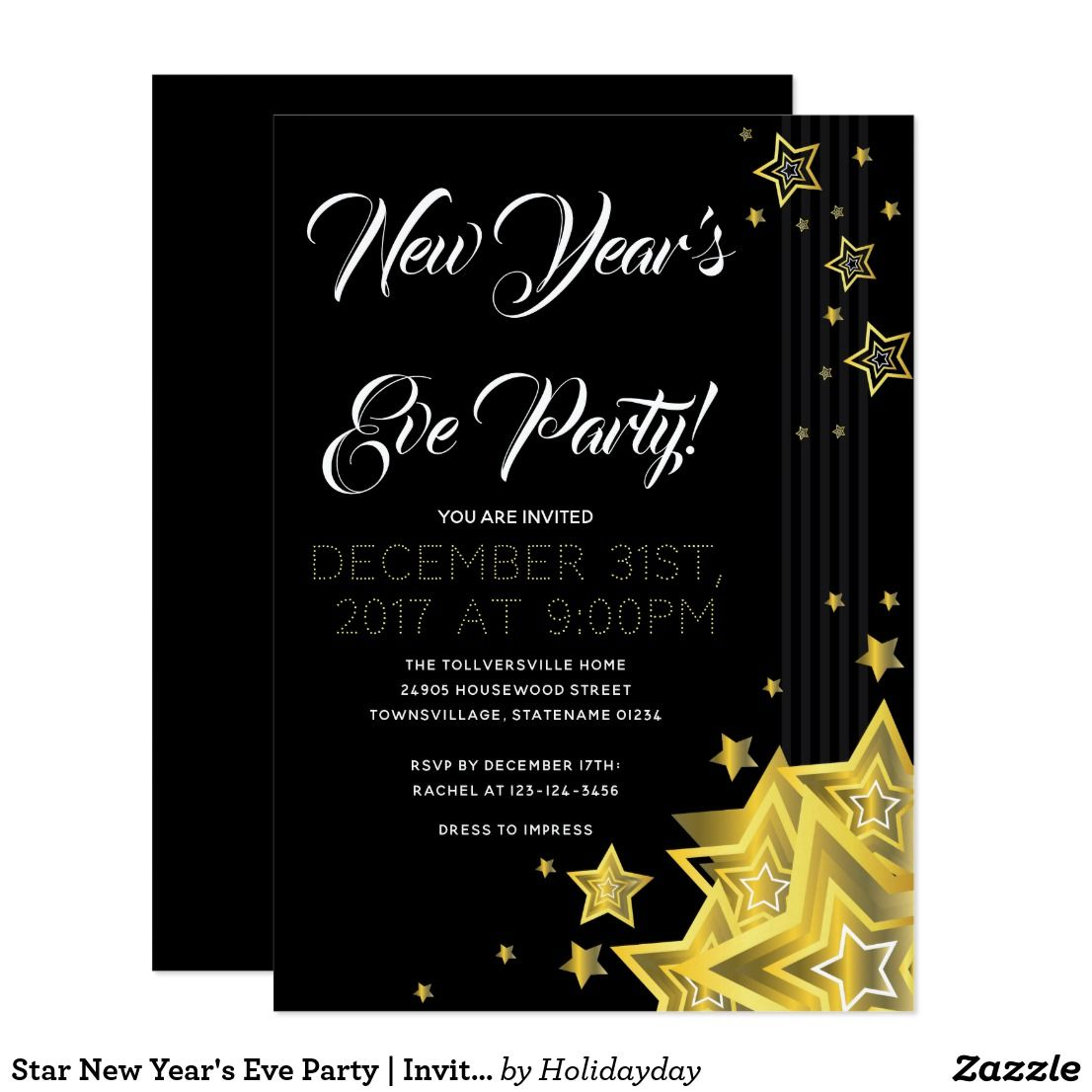 star new years eve party invitation