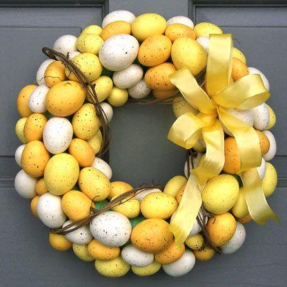 Yellow & white egg wreath