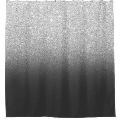 Modern Silver Glitter Ombre Grey Black Shower Curtain Zazzle Com
