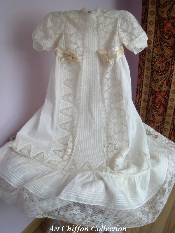 Robe de bapt me ancienne dentelle valenciennes photo for Couture a valenciennes