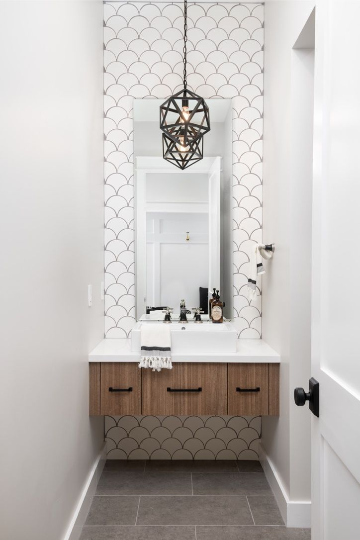 Room Lighting Design Software: Gorgeous Contemporary Powder Room With Flooring To Ceiling