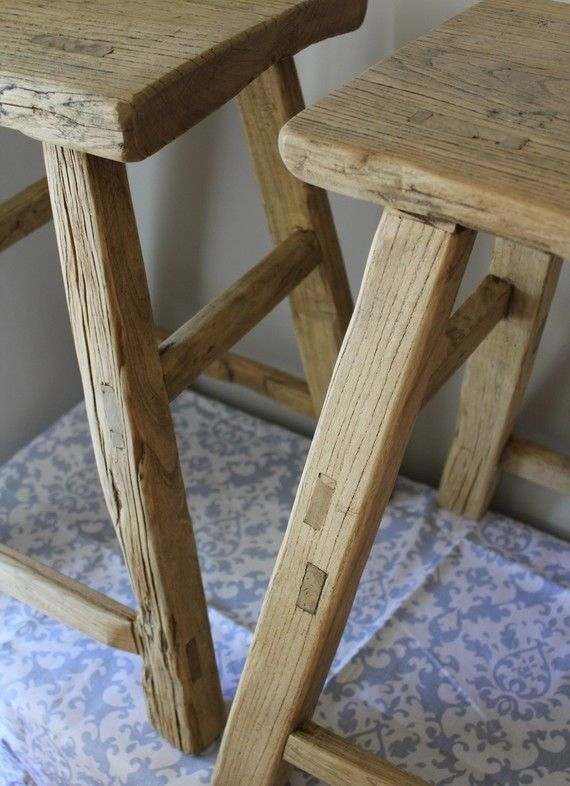 Pair Of Reclaimed Wood Counter Height Stools Furniture