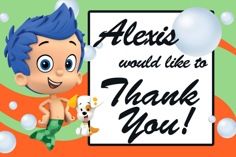 Nick Jr. Bubble Guppies Thank You Printable cards, Gil Custom JPG ...