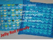 Ocean Waves, PDF Pattern for Pillowcase with Prairie Points - Jelly Roll friendly!