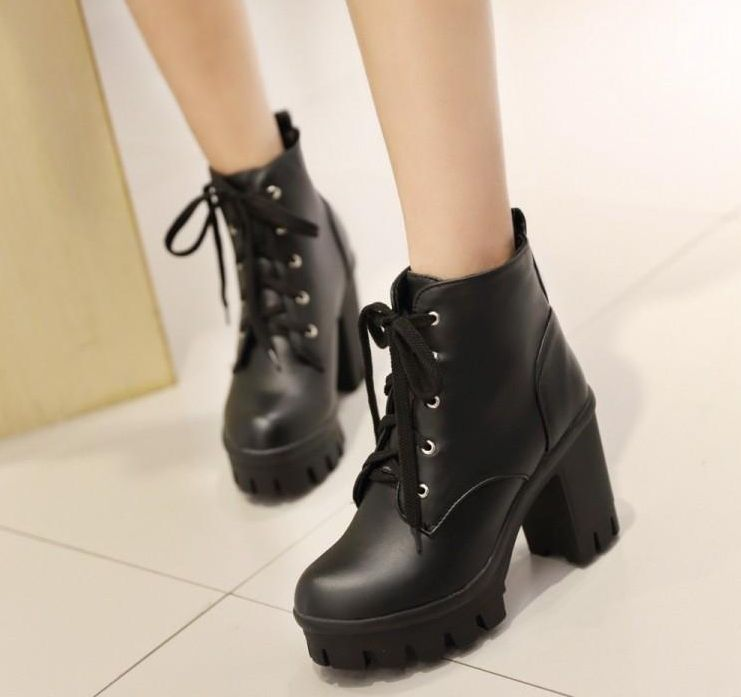 Women's Casual Lace up Round Toe Block High Heel Platform Ankle Booties