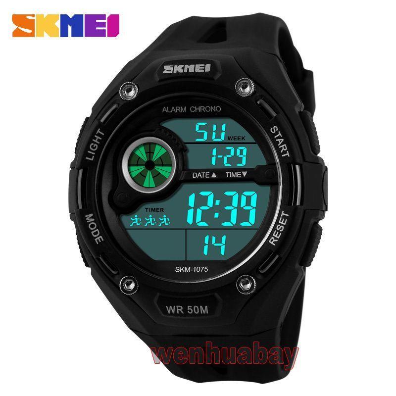 c96b6759b17 Skmei 50M Waterproof Led Light Date Dial Alarm Digital Wristwatch Men Sport  Gift