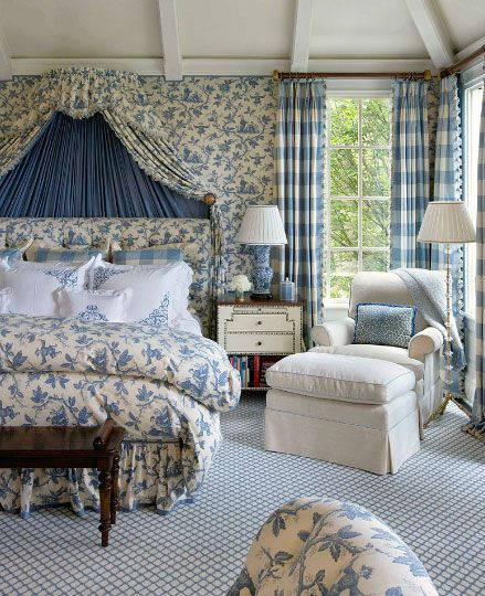 Decor Makeover With Wallpapers Bed Linen Canopy And Linens - French blue bedroom design