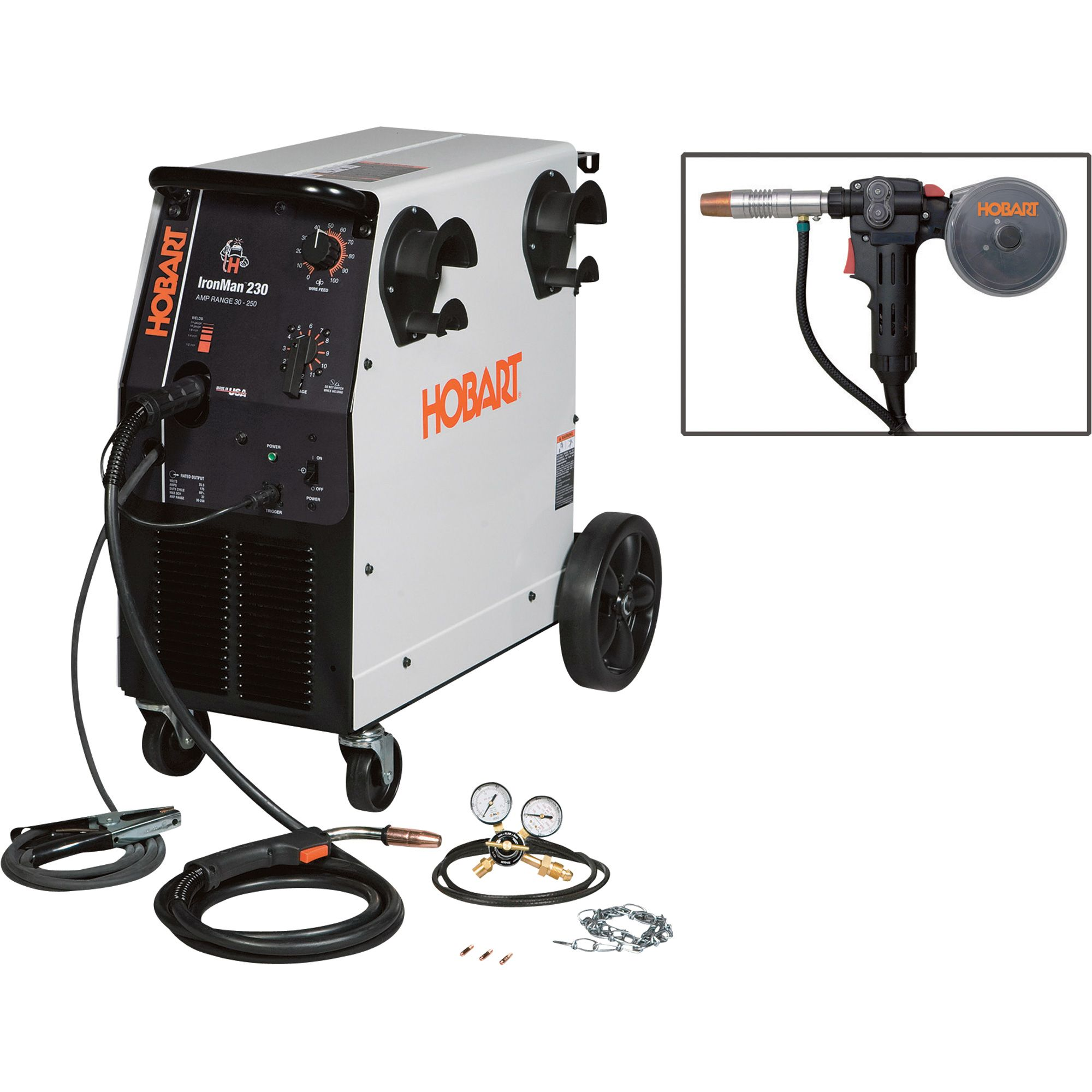 Hobart IronMan 230 Flux-Core/MIG Wire-Feed Welder with Hobart DP ...