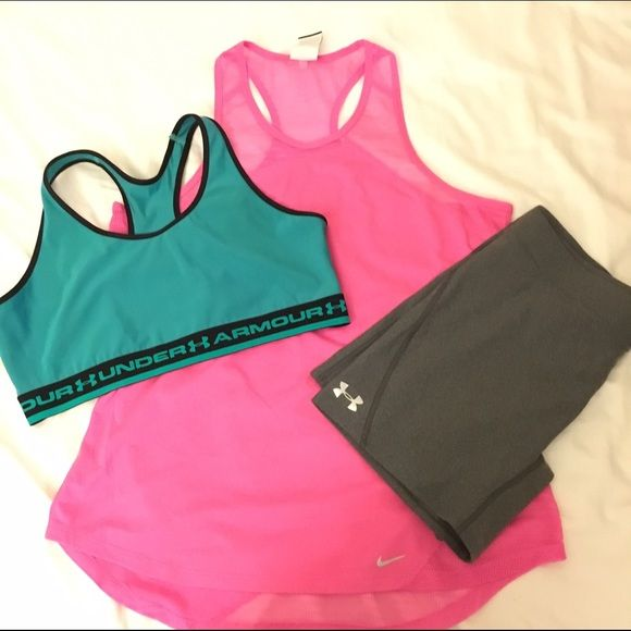 Active bundle Xl under armour Sports bra, xl Nike running tank top, and xl under armour shorts. Shorts are nwt. Shirt is nice, thin fabric for summer Under Armour Tops Tank Tops