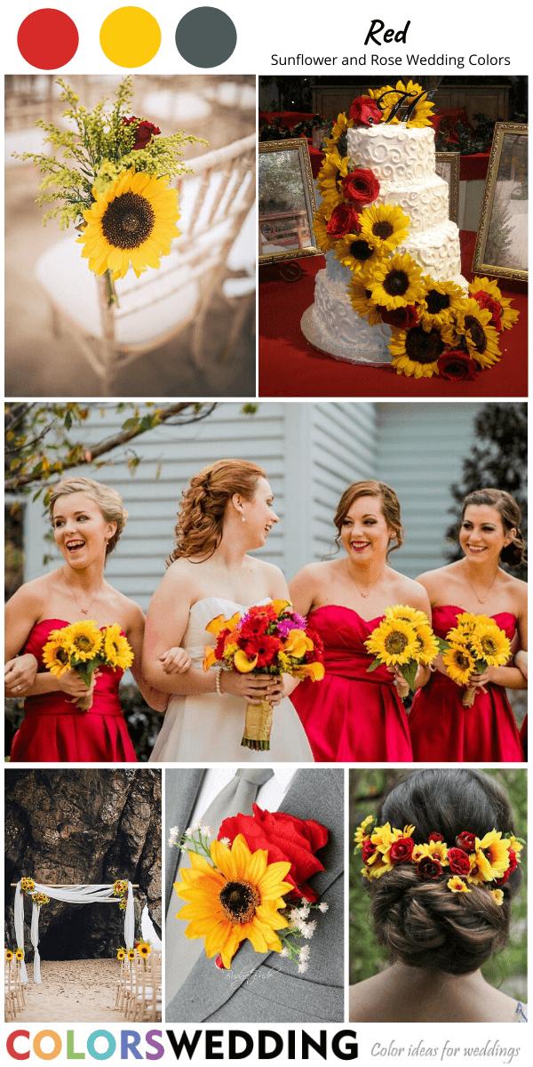 Wedding Flowers Bridal Bouquet Sunflowers Red wedding decorations 8 bouquet
