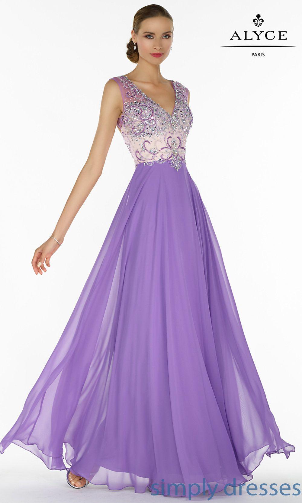 Aljdl alyce long vneck prom dress