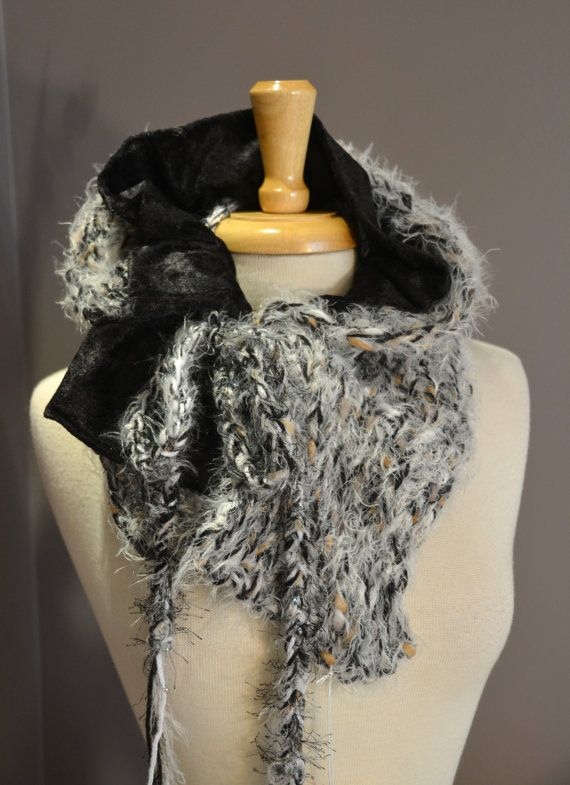 """NEW """"Thumblebug"""" Black and White - Double Layer Knit Plus Velvet Fabric Cowl - Versatile Reversible Couture Design with cinch drawstring on Etsy, $42.00"""