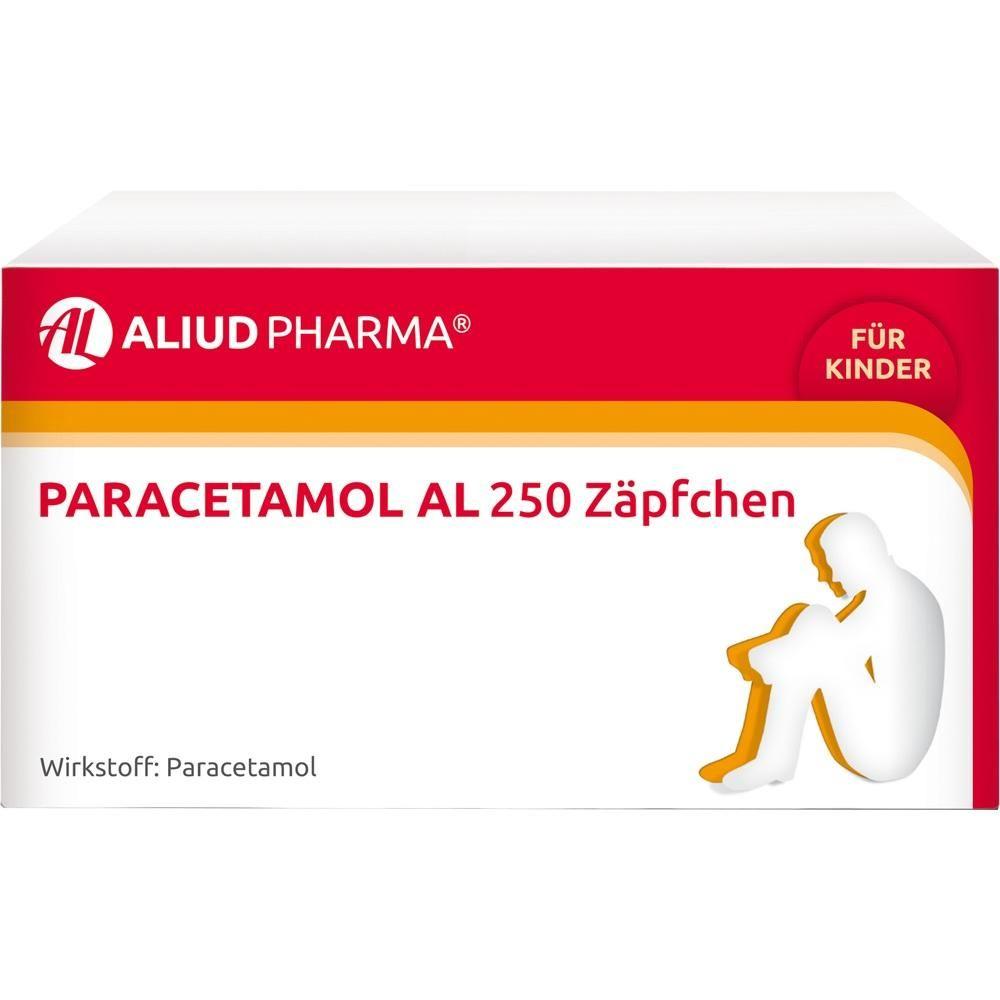 PARACETAMOL AL 250 Zäpfchen für Kleinkinder:   Packungsinhalt: 10 St Kleinkinder-Suppositorien PZN: 03295071 Hersteller: ALIUD Pharma…