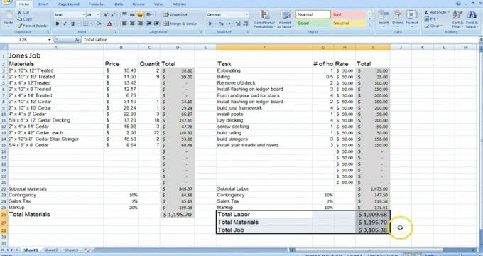 Estimating with Excel for the Small Contractor - Create A Spreadsheet In Excel