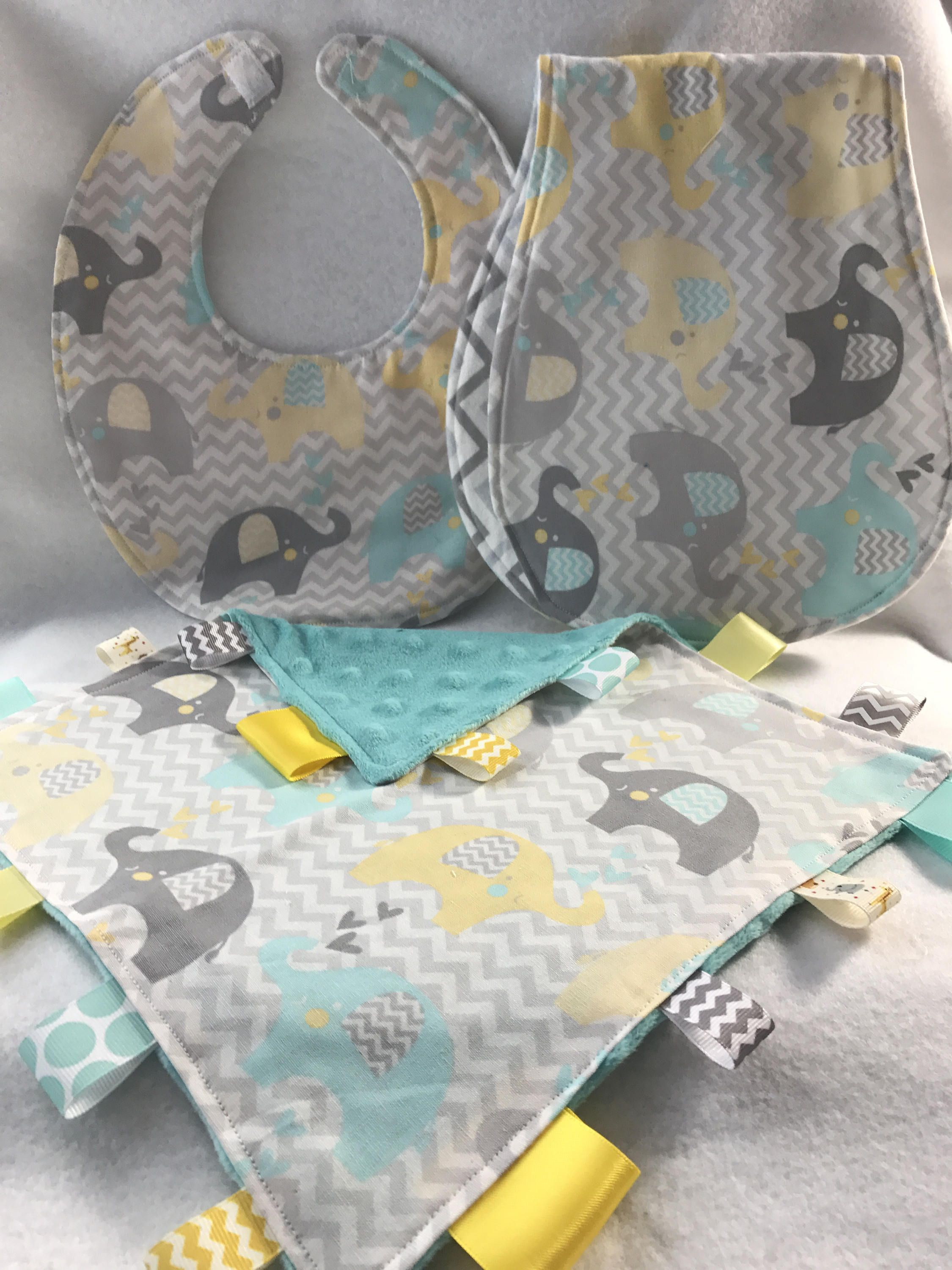 Unisex teal gray and yellow elephant baby gift set bib burp unisex teal gray and yellow elephant baby gift set bib burp cloth lovie negle Images