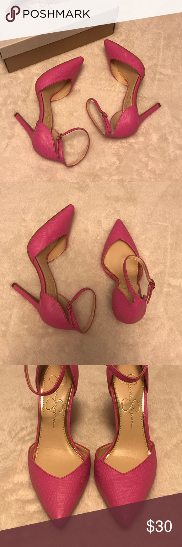 13883c20cd93 Jessica Simpson Ultra Pink Cirrus Pumps Pointed-toe pumps with adjustable ankle  straps. Color