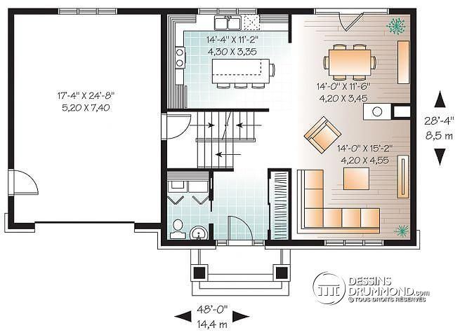 Plan de Rez-de-chaussée Plan de maison à étage de style Craftsman, 3 chambres, garage, grand ...