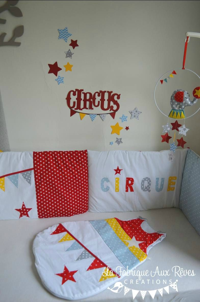 stickers cirque étoiles rouge jaune bleu gris - décoration chambre ...
