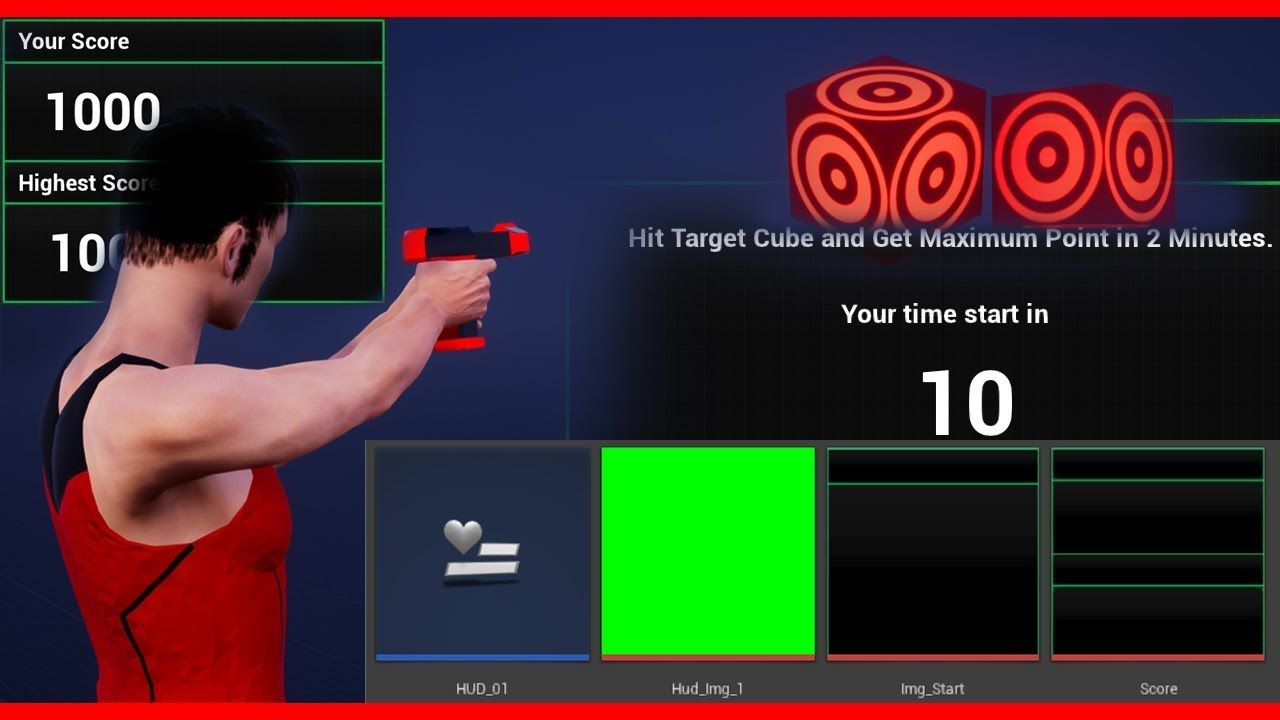 Widget | Random spawn Actor | Target Cube actor | Unreal Engine