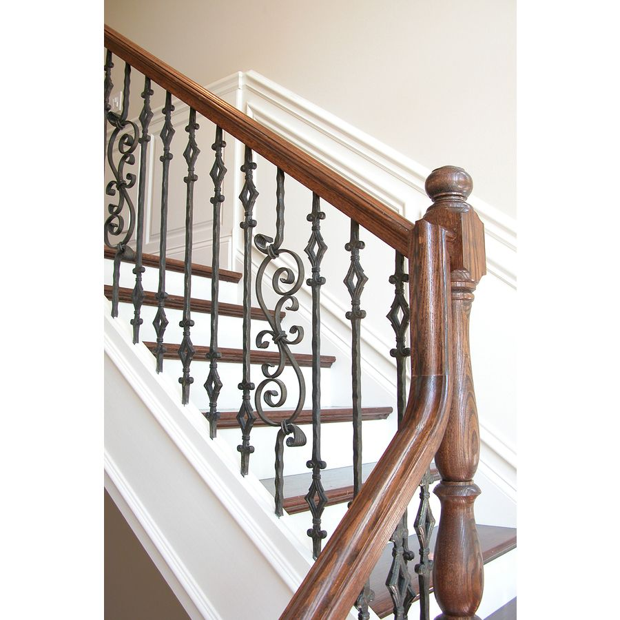 Best House Of Forgings Solid 44 In Satin Black Wrought Iron Tuscan Stair Baluster Hfstb2 9 4 640 x 480