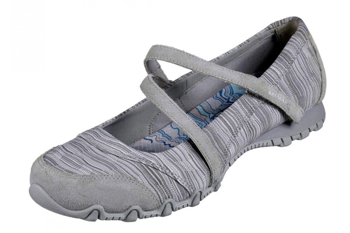 32c3d9d6 Skechers Bikers Ripples Grey Mary Jane Memory Foam Flat Shoes ...
