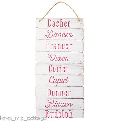 reindeer names hanging plaque sign santa rudolf rudolph xmas tree decor gift - Christmas Tree Decorations Names