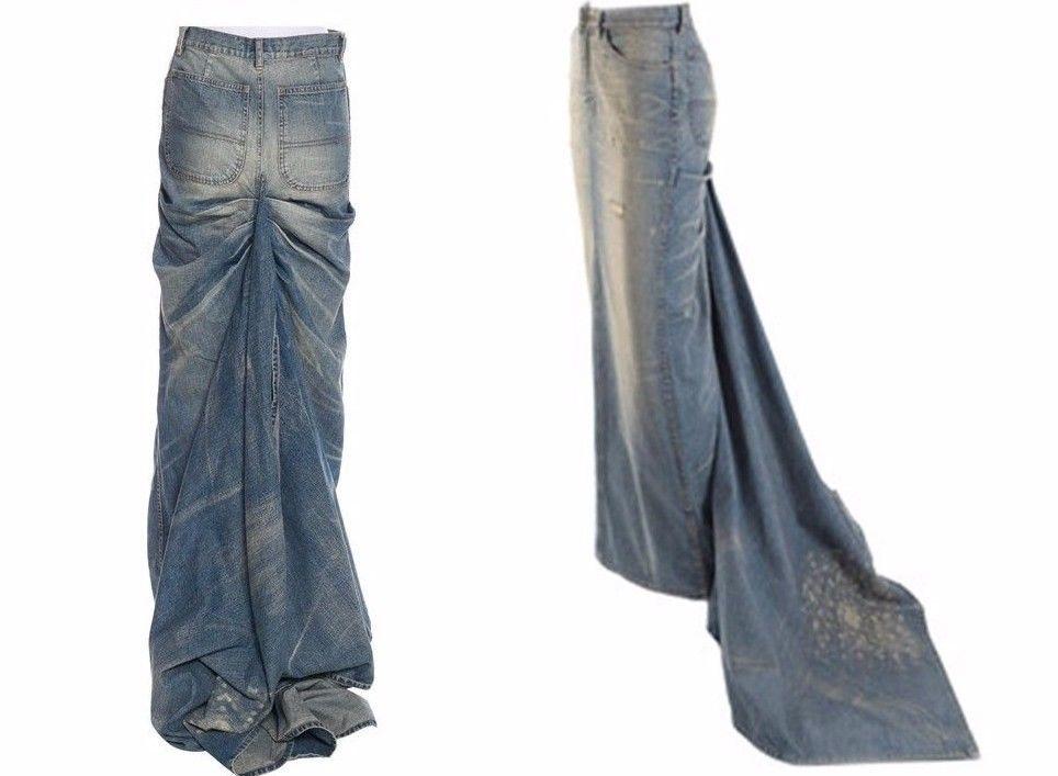 Ralph Lauren Collection Distressed Denim Train Runway Skirt SZ 4   RalphLaurenCollection  FullSkirt 20fdb1477