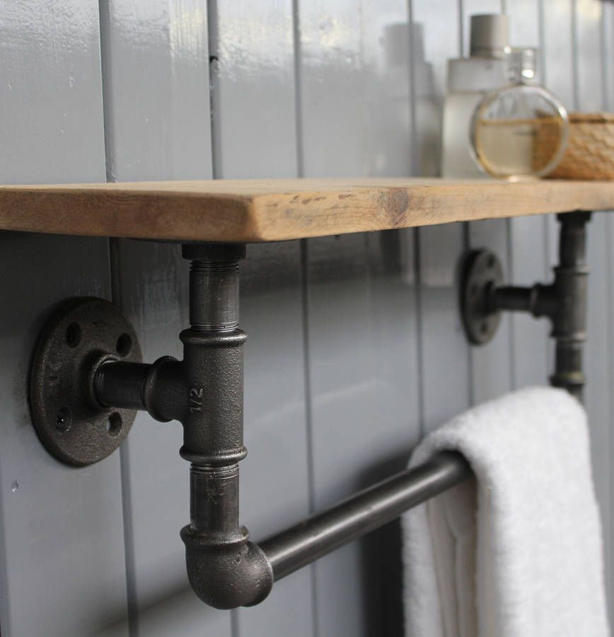 Industrial Pipe Shelves Bathroom